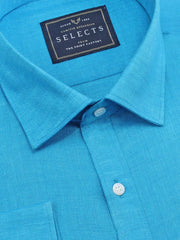 Selects Pure Linen Plain Shirt - Blue (0534) - Theshirtfactory