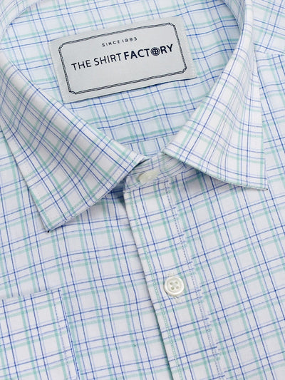 Men's Premium Cotton Twill Check Shirt - Caribbean Green (1068) - Theshirtfactory