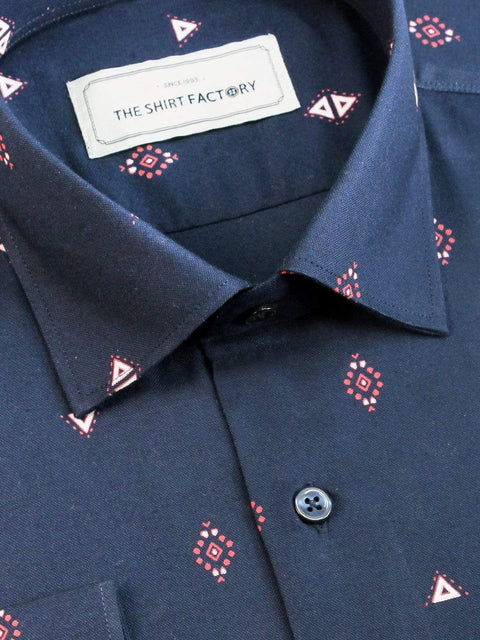 Men's Premium Cotton Printed Shirt - Navy (1151) - Theshirtfactory