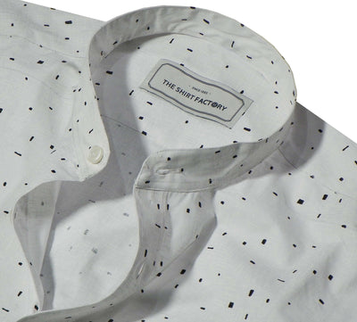 Men's Cotton Printed Shirt with Mandarin Collar - White (1045-MAN) - Theshirtfactory
