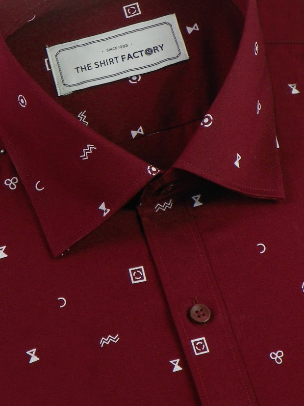 Men's Premium Cotton Printed Shirt - Maroon (1124) - Theshirtfactory