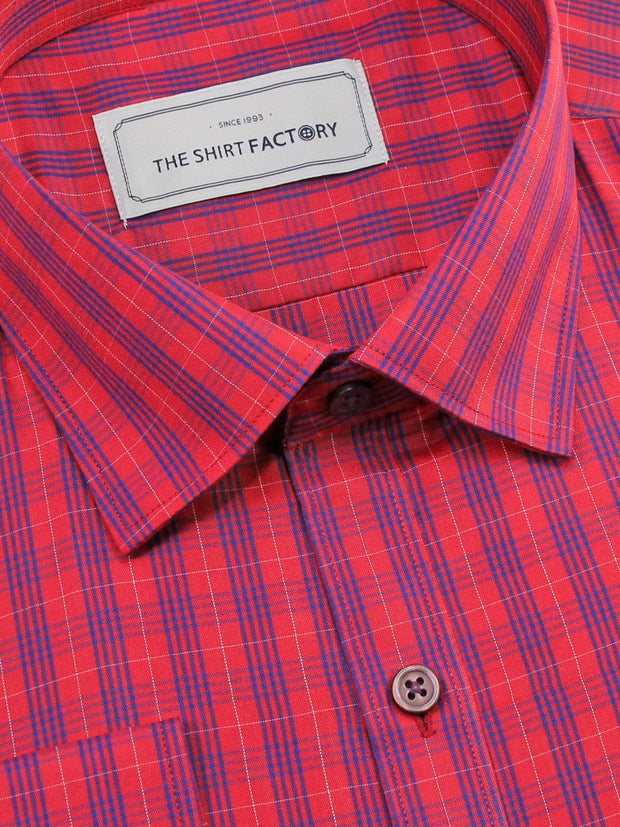 Men's Poly Cotton Check Shirt - Red (0735) - Theshirtfactory