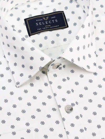 Selects Premium Cotton Satin Printed Shirt White (1021) - Theshirtfactory