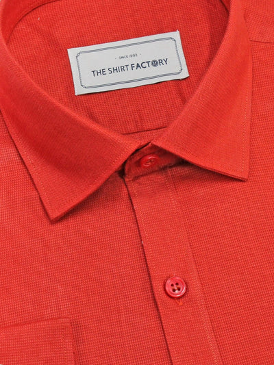 Men's Premium Cotton Dobby Plain Shirt - Red (0905) - Theshirtfactory