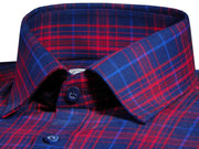 Men's Premium Cotton Twill Check Shirt - Red (0953) - Theshirtfactory