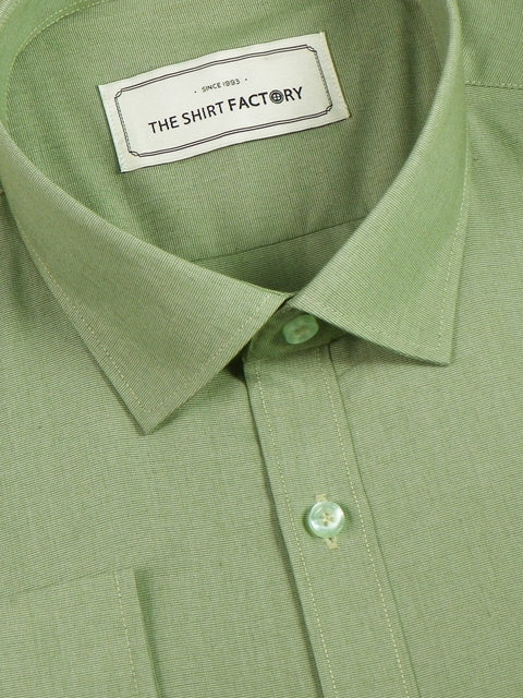 Men's Premium Cotton Blend Plain Shirt Green (0864) - Theshirtfactory