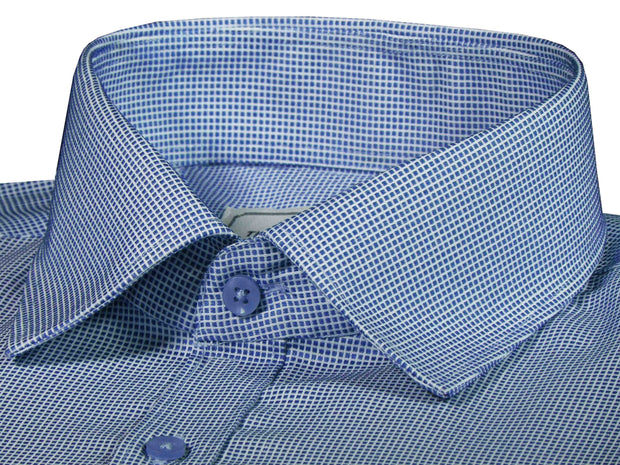 Men's Premium Cotton Blend Dobby Shirt Blue (0990) - Theshirtfactory
