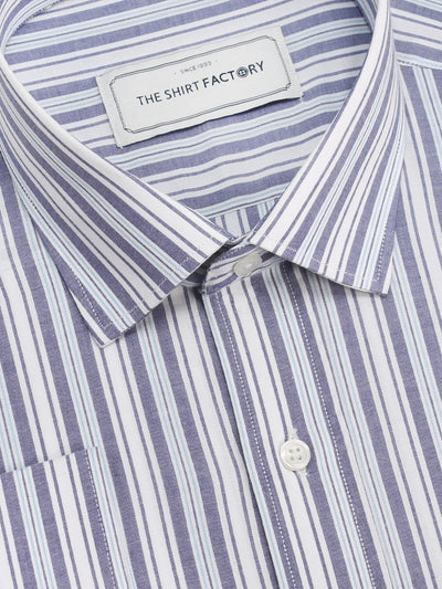 Men's Premium Cotton Striped Shirt - Dark Blue Stripes (1128) - Theshirtfactory