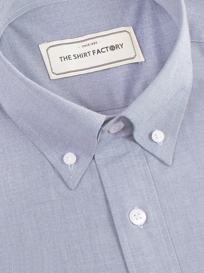 Men's Premium Cotton Plain Button Down Shirt - Light Blue (1120) - Theshirtfactory