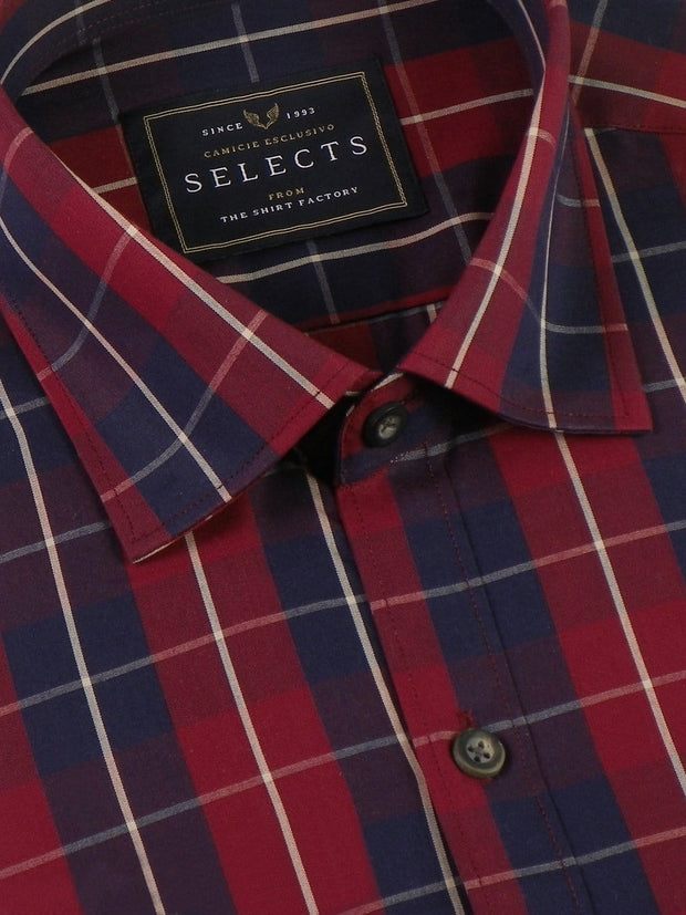 Selects Premium Cotton Check Shirt - Red (0372) - Theshirtfactory