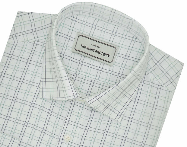 Men's Cotton Blend Check Shirt - White (1039) - Theshirtfactory