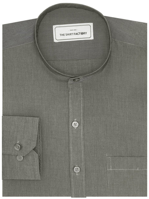 Poly Cotton Plain Shirt with Mandarin Chinese Collar for Men Black (0432-MAN) - Theshirtfactory