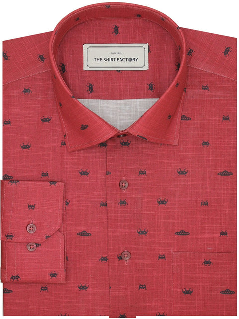 Men's Premium Cotton Printed Shirt - Red (1148) - Theshirtfactory