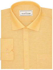 Men's Premium Cotton Linen Plain Shirt - Yellow  (1065) - Theshirtfactory