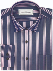 Men's Premium Cotton Striped Shirt - Navy Blue (1154) - Theshirtfactory