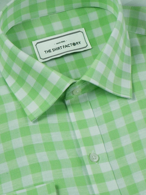 Men's Premium Cotton Check Shirt - Green (1066) - Theshirtfactory