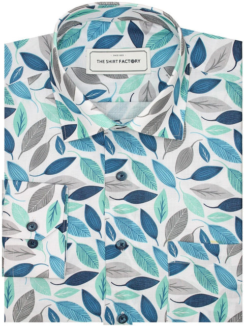 Men's Premium Cotton Blend Linen Finish Printed Shirt - White (Leaves Print) (1182) - Theshirtfactory
