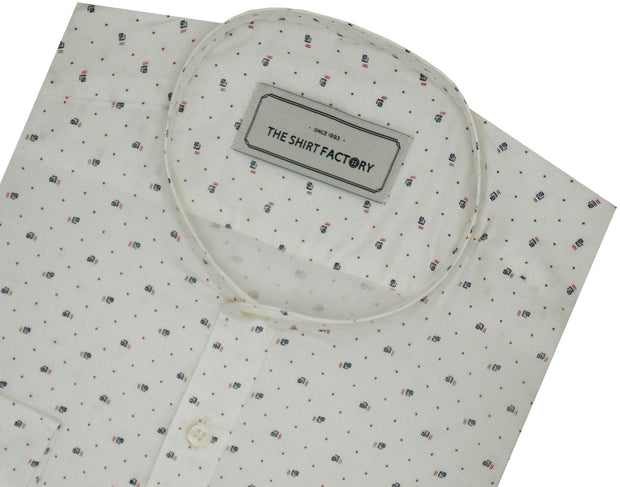 Men's Cotton Printed Shirt with Mandarin Collar - White (1077-MAN) - Theshirtfactory