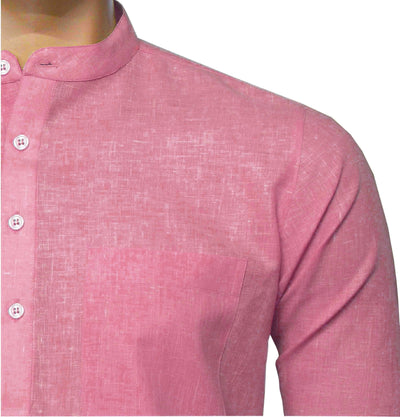 Men's Cotton Blend Plain Short Kurta Full Sleeves/Half Sleeves - Light Pink (KUR-0971) - Theshirtfactory
