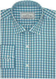 Men's Premium Cotton Check Shirt - Blue (1015) - Theshirtfactory