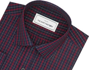 Men's Premium Cotton Twill Check Shirt - Red (0956) - Theshirtfactory