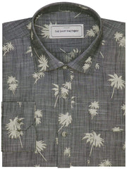 Men's Premium Cotton Linen Finish Printed Shirt - Grey (1125) - Theshirtfactory