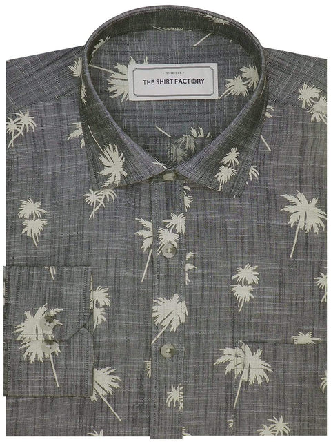 Men's Premium Cotton Printed Shirt - Gray (1125) - Theshirtfactory