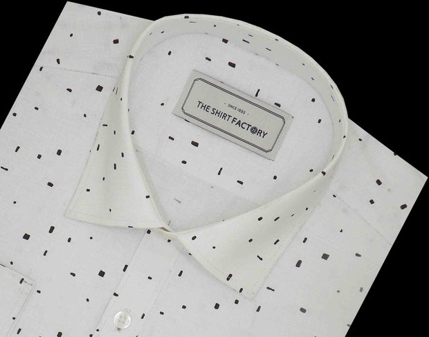 Men's Premium Cotton Blend Printed Shirt White (1045) - Theshirtfactory