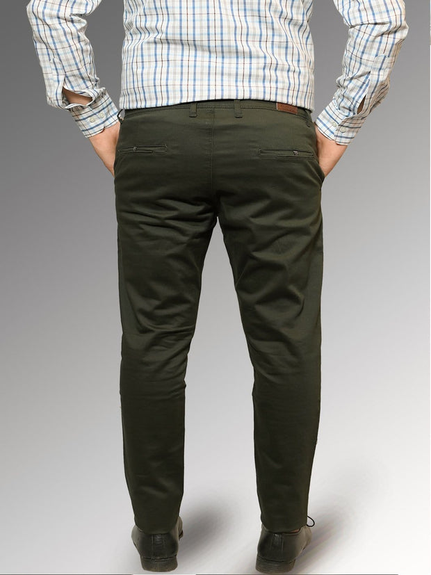 Men's Casual Cotton Trouser - Olive Green (TRO-044)