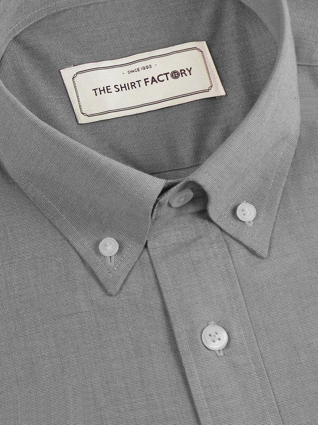 Men's Premium Cotton Plain Button Down Shirt - Grey (1121) - Theshirtfactory