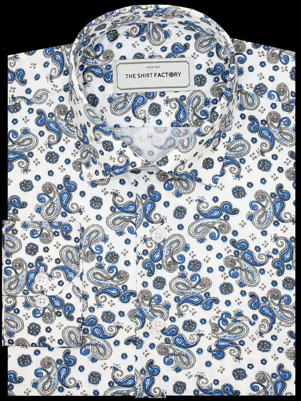 Men's Premium Cotton Satin Printed Shirt - White-Blue Print (1174) - Theshirtfactory