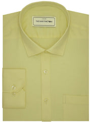 Men's Giza Satin Cotton Plain Shirt - Yellow (1050) - Theshirtfactory