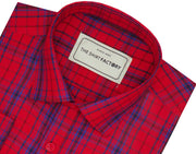 Men's Premium Cotton Twill Check Shirt - Red (0952) - Theshirtfactory