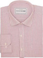 Men's Cotton Micro Check Shirt - Red (1061) - Theshirtfactory