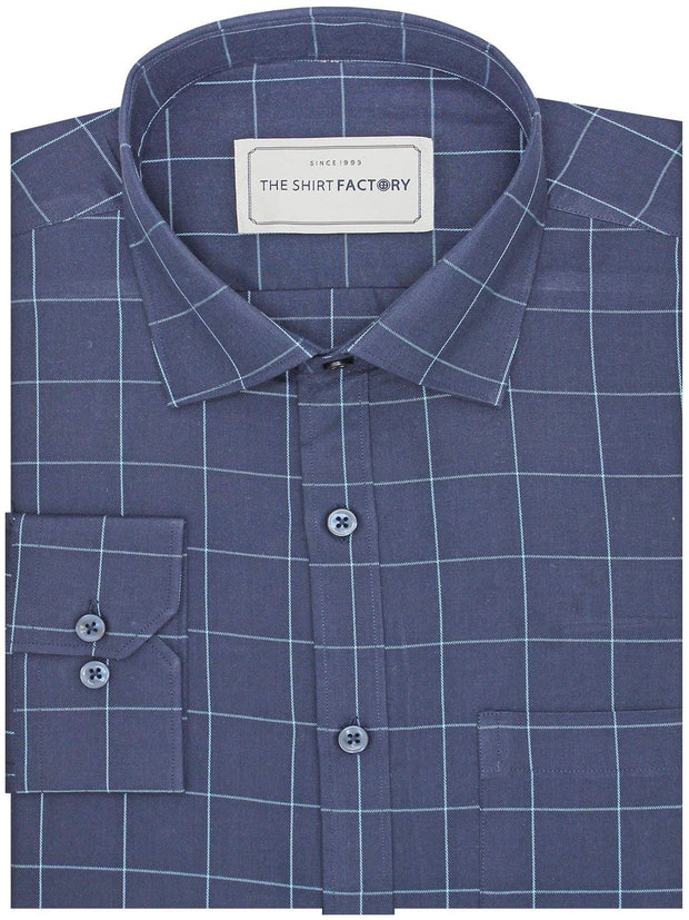 Men's Premium Cotton Check Shirt - Navy Blue (1034) - Theshirtfactory