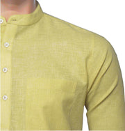 Men's Cotton Blend Plain Short Kurta Full Sleeves/Half Sleeves - Light Yellow (KUR-0966) - Theshirtfactory