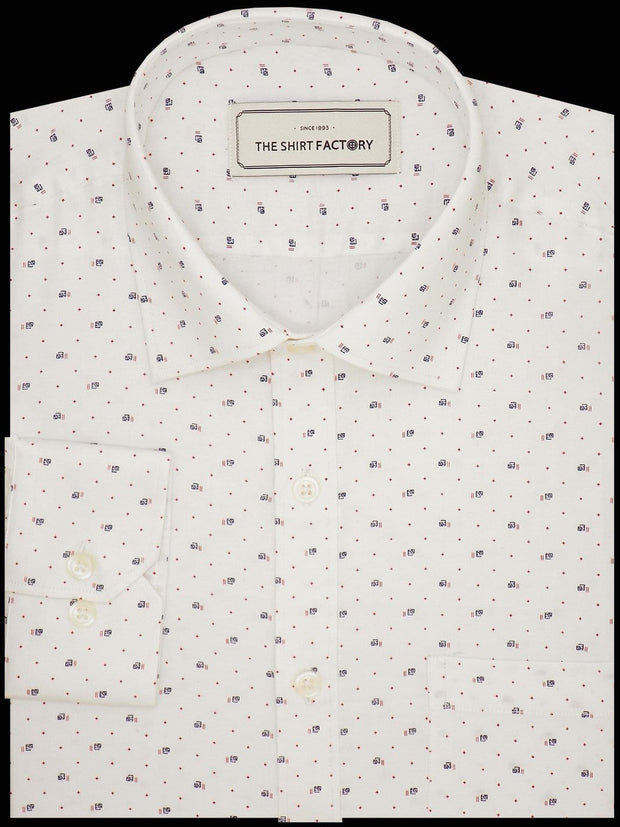 Men's Premium Cotton Satin Printed Shirt - White (1077) - Theshirtfactory