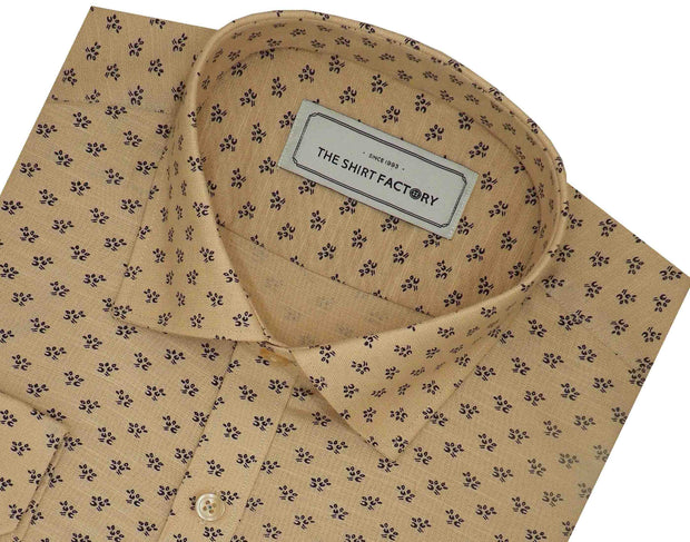 Men's Premium Cotton Linen Printed Shirt Beige - (1064) - Theshirtfactory