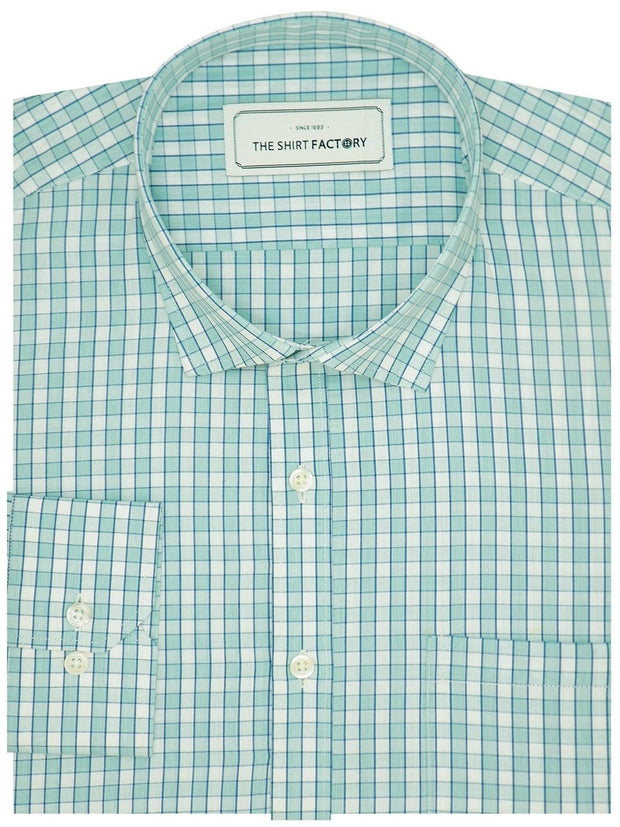 Men's Premium Cotton Check Shirt - Sky Blue (1058) - Theshirtfactory