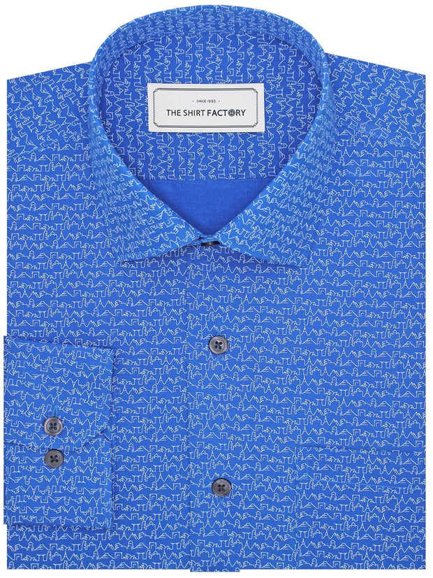 Men's Premium Cotton Printed Shirt - Blue (1168) - Theshirtfactory