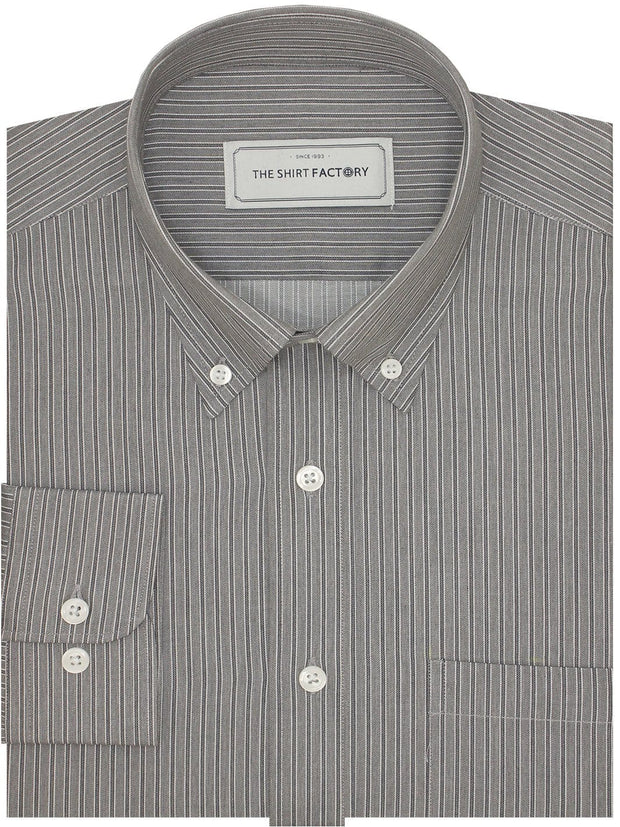 Men's Premium Cotton Striped Shirt - Grey Stripes (1129)