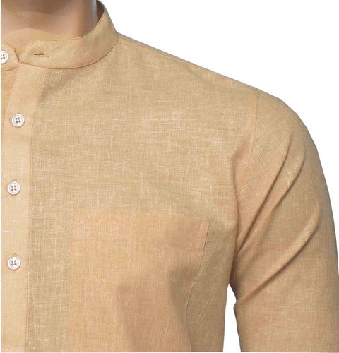 Men's Cotton Blend Plain Short Kurta Full Sleeves/Half Sleeves - Light Melon Orange (KUR-0965) - Theshirtfactory