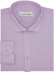 Men's Formal Cotton Blend Plain Shirt - Purple (0430)
