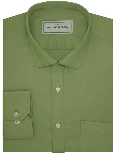 Men's Giza Satin Cotton Plain Shirt - Olive Green (1049) - Theshirtfactory