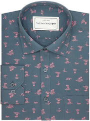 Men's Premium Cotton Printed Shirt Navy (0515) - Theshirtfactory