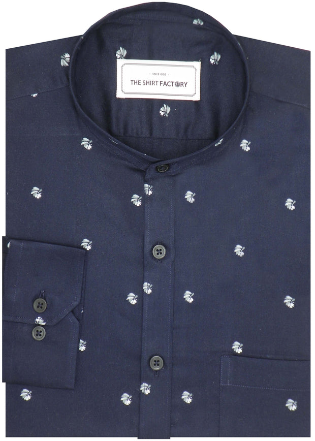Men's Cotton Satin Printed Shirt with Mandarin Collar - Navy Blue (0943-MAN) - Theshirtfactory