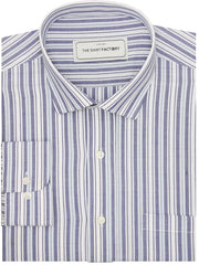 Men's Premium Cotton Striped Shirt - Dark Blue Stripes (1128)