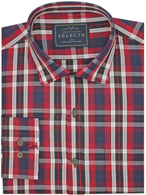 Selects Premium Cotton Check Shirt - Red (0373) - Theshirtfactory