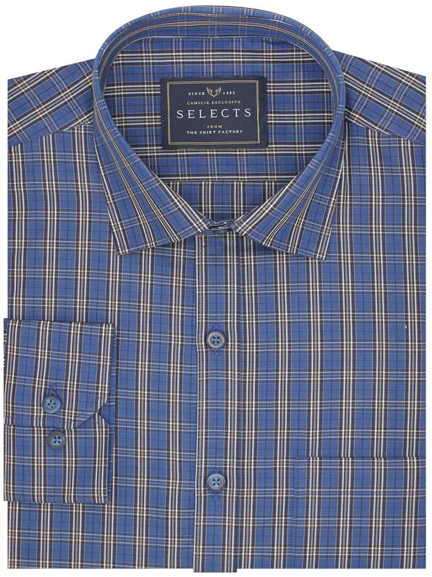 Men's Premium Cotton Check Shirt - Blue (0468) - Theshirtfactory