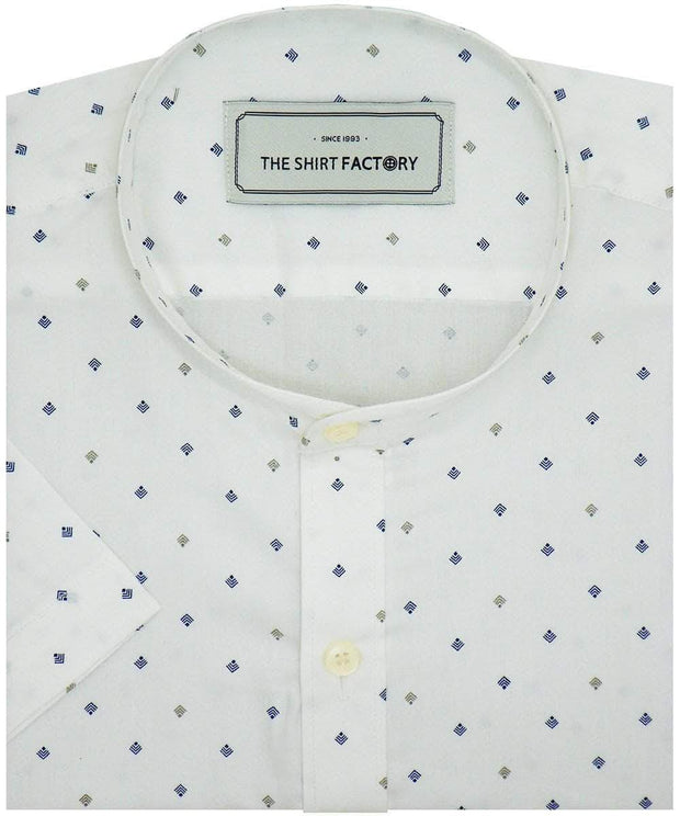 Men's 100% Cotton Printed Shirt with Mandarin Chinese Collar - White (0830-MAN) - Theshirtfactory